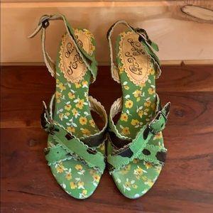 Naughty Monkey green/black cowhide heels